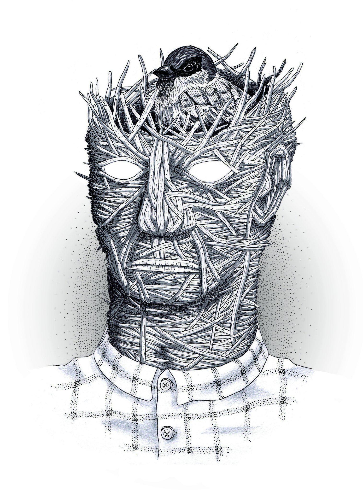 Uomo con testa-nido